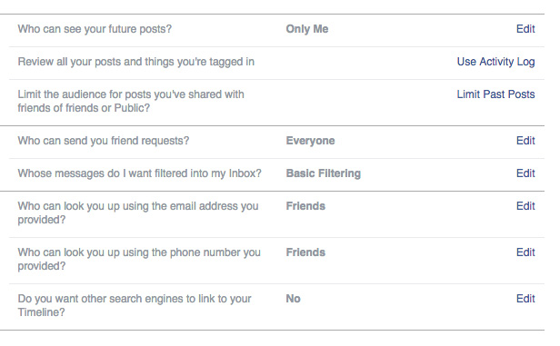 How safe favourite websites Facebook permissions screenshot