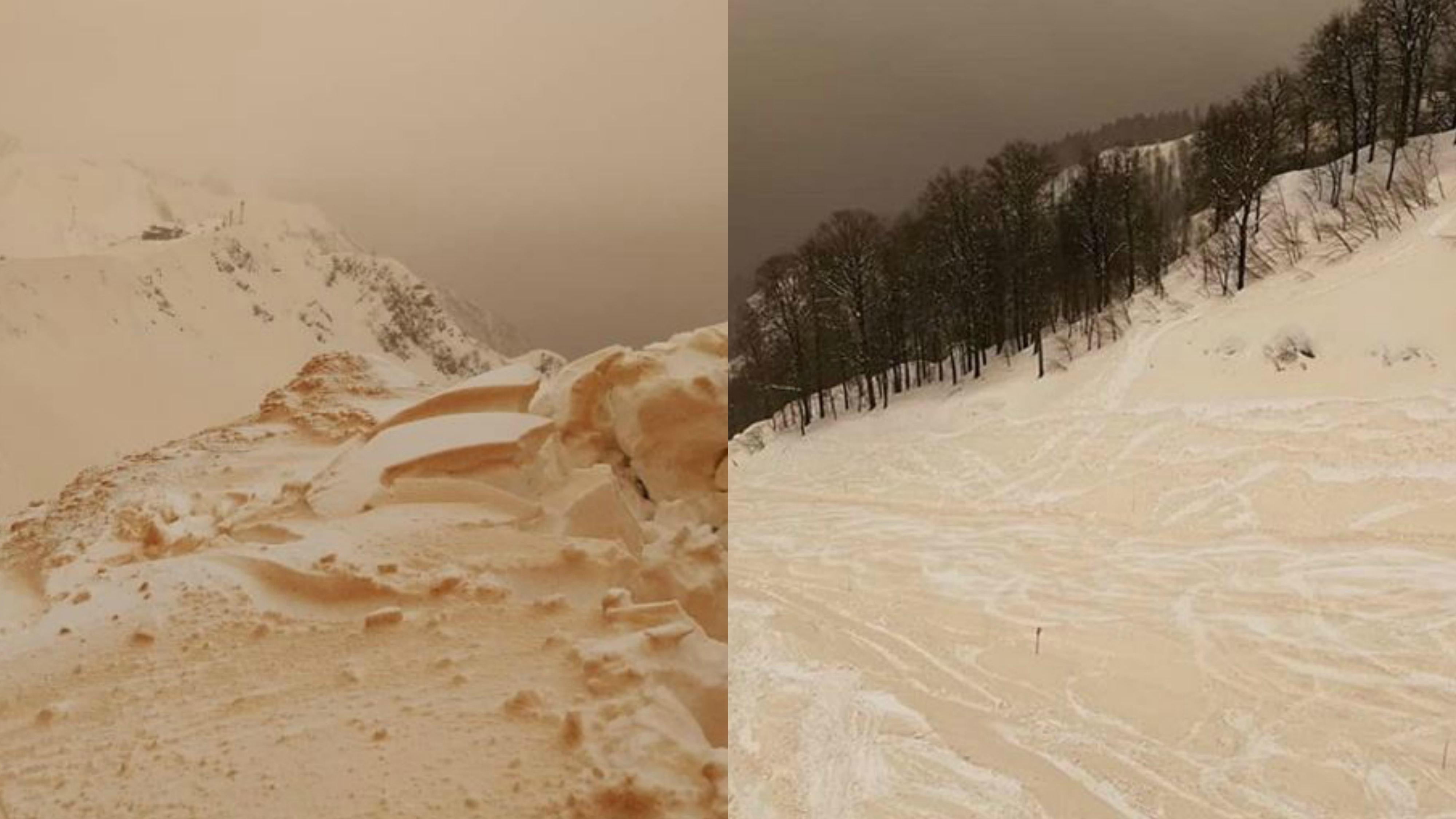 'We're skiing on Mars today': Orange snow blankets eastern Europe