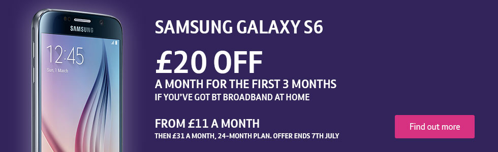 The Samsung Galaxy S6 mobile phone on BT Mobile