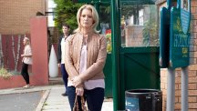 Sandy Roscoe, played by Gillian Taylforth, prepares to leave Hollyoaks on the bus