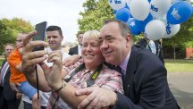 Scotland's First Minister Alex Salmond visits the Tollcross area of Glasgow to meet 'Yes' supporters