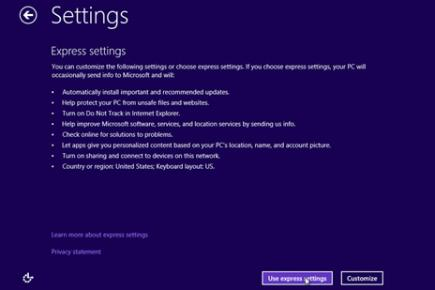 Step 7: Customise Windows 8 settings