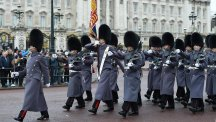 Coldstream Guards during the Changing the Guard at Buckingham Palace in London