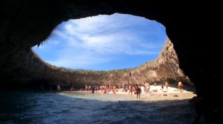 See the incredible hidden beach in Mexico that you have to swim underwater to get to