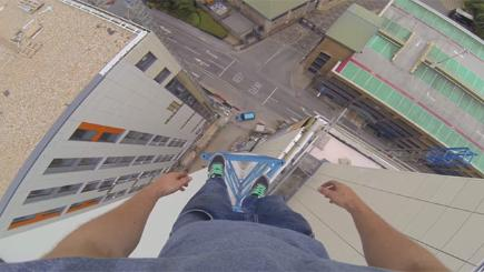See what it's like to balance on top of a crane - without a harness