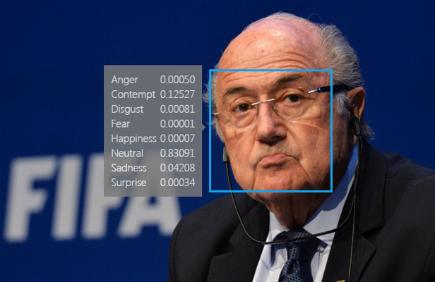 Sep Blatter with Microsoft Facial recognition result