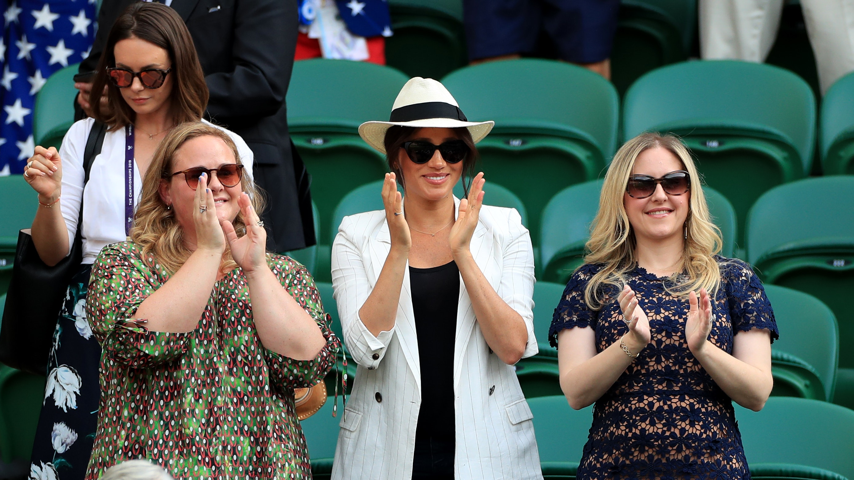Kate and Meghan beam as they attend Wimbledon