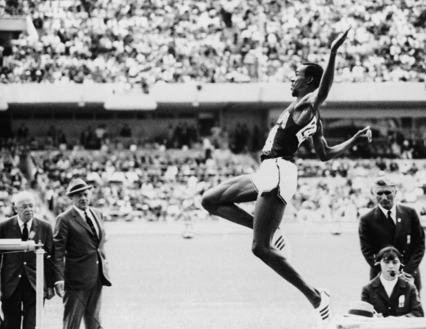 Beamon leaps to a gold medal, a world record that stood for 23 years and an Olympic record that stands to this day.