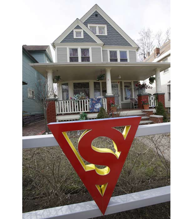 Superman's red 'S' on the gate of Superman writer Jerry Siegel's former home in Cleveland, Ohio.