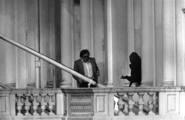 BBC sound recordist Sim Harris escapes the building.