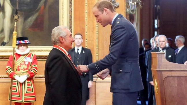 Sir Gareth Edwards, from Bridgend, is made a Knight Bachelor of the British Empire by the Duke of Cambridge during an investiture ceremony at Windsor Castle