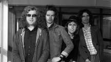Slade, the pop group (from left) Noddy Holder, Jimmy Lea, Dave Hill and Don Powell in 1975