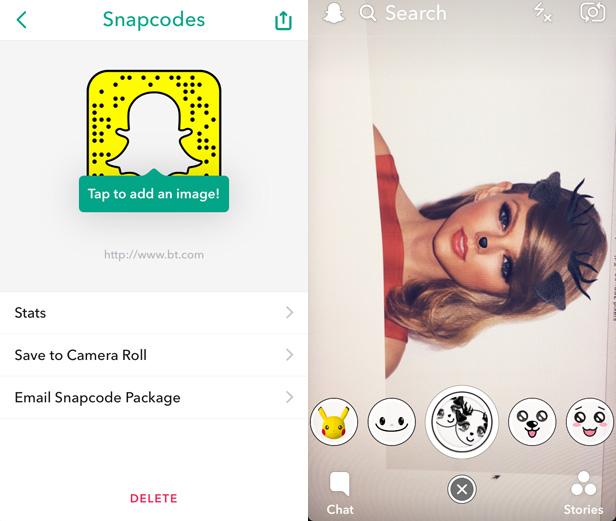 Snapchat Snapcodes and filters