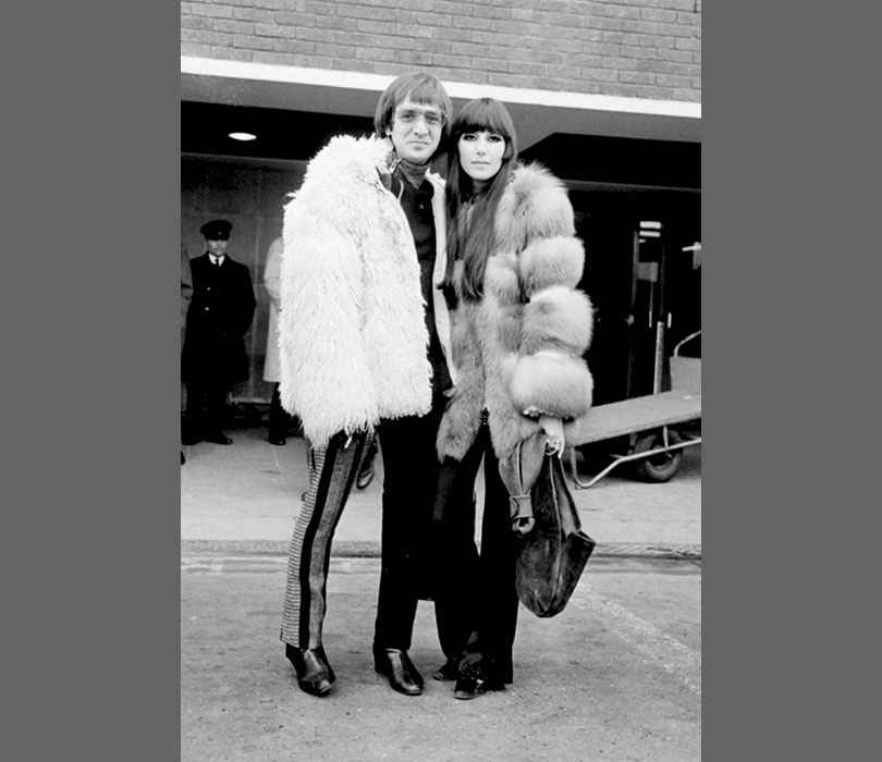 Sonny and Cher sport matching fur coats in 1967.