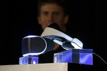 The PlayStation 4 virtual reality headset Project Morpheus is shown on stage (AP)