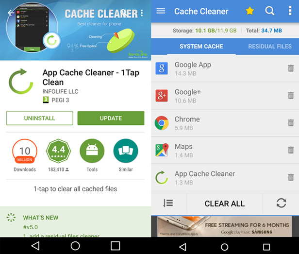 Speed up your smartphone 4 - clean up app cache