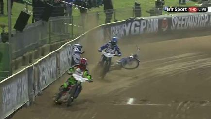 Speedway star slams wall in high-speed crash