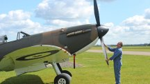 A Mark 1 Vickers Supermarine Spitfire which was once flown by a veteran of the Great Escape