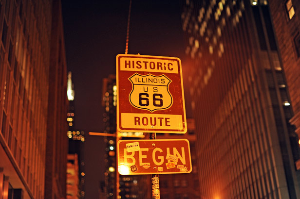 A sign at the start of Route 66 in Chicago, Illinois.