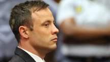 Oscar Pistorius sits in the dock after sentencing in Pretoria, South Africa (AP)