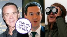 Stefan Dennis, George Osborne and a woman viewing the eclipse