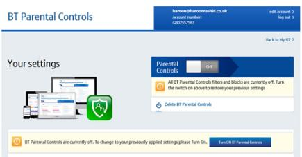 Step 7: Turning off BT Parental Controls