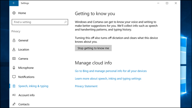 Stop sharing data with Cortana