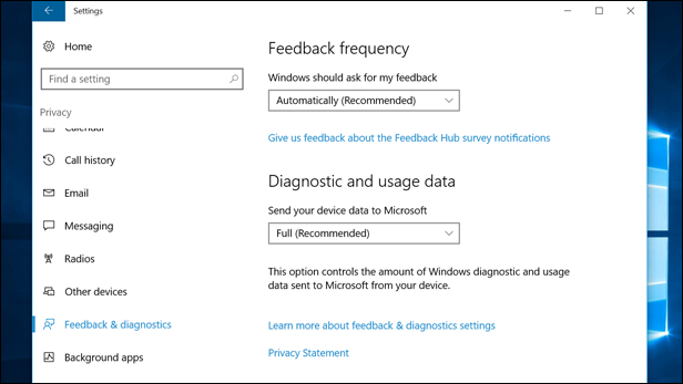 Limit the amount of feedback data you provide Microsoft