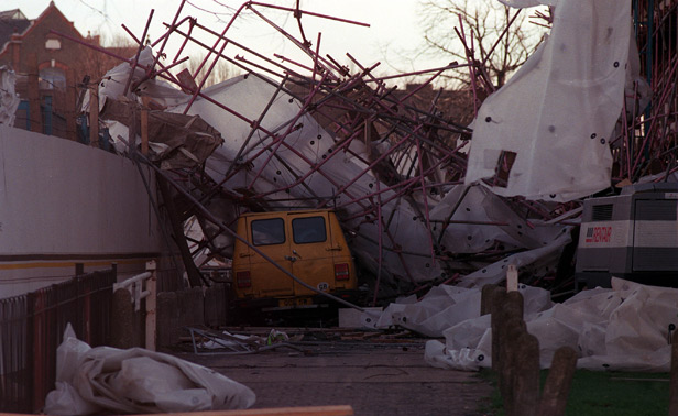 Scaffolding, blown from a towerblock, which fell onto a van parked nearby in the storms in 1990