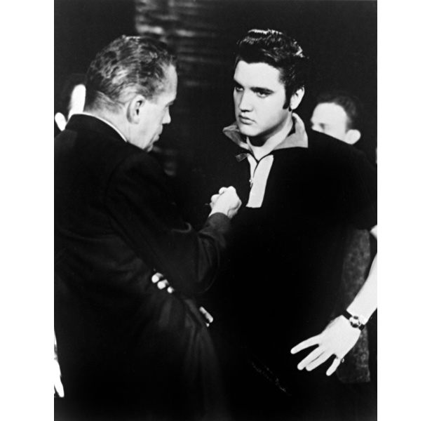 Elvis and Ed Sullivan meet during the singer's later appearance on the programme.