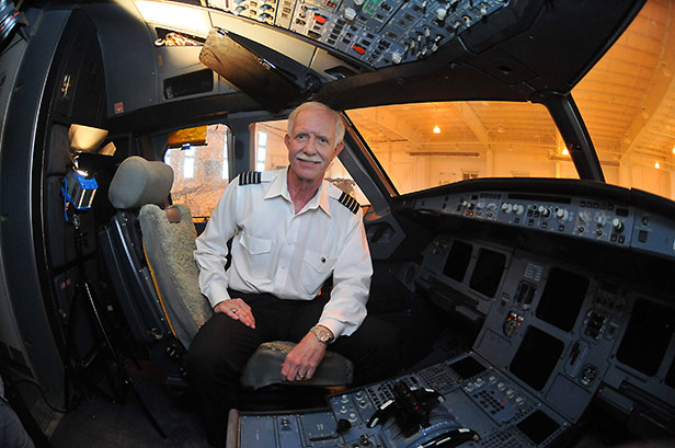 Pilot Chesley B. Sullenberger in the cockpit of the Airbus A320 after it had been rescued from the Hudson