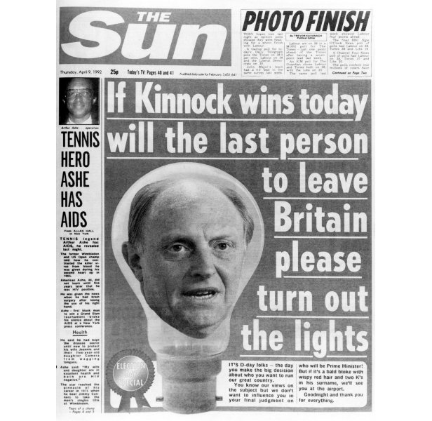 Kinnock blamed the right-wing press for Labour's defeat - The Sun claimed it 'Won it' with this front page.