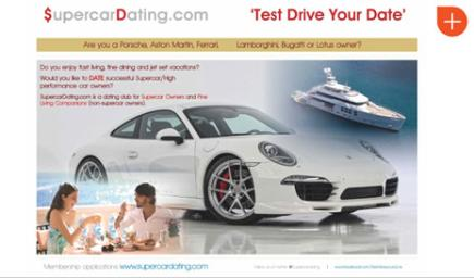Supercar dating site advert