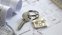 Building plans with house keyring
