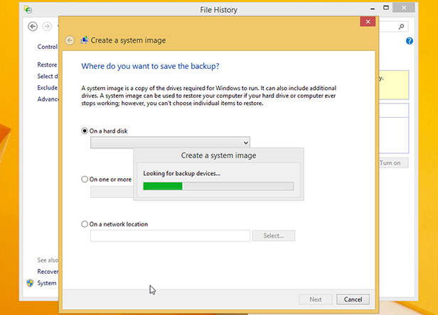 how to make file hiostory forget a backup drive
