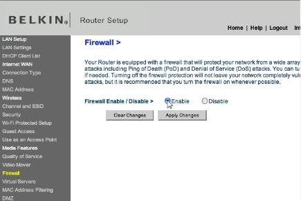 Enable the routers firewall