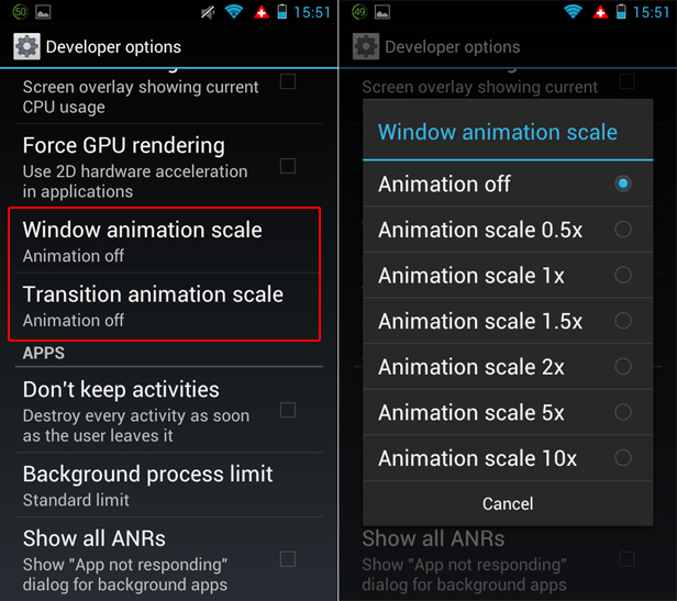 Limit Android visual effects