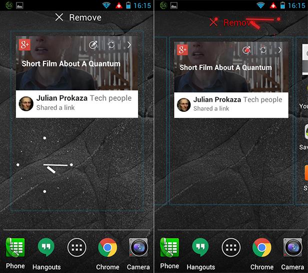 Remove Android widgets