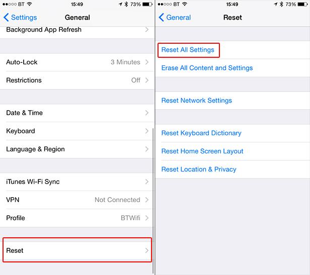 iOS Reset all settings