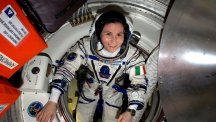 Astronaut Samantha Cristoforetti aboard the International Space Station.