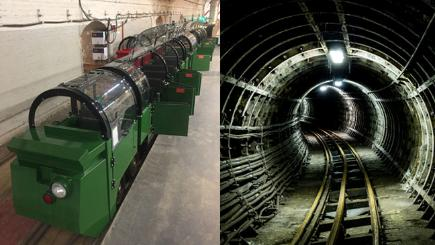 Mail Rail train and tunnels