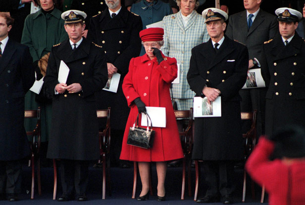 The Queen sheds a tear for Britannia at the yacht's decommissioning ceremony in 1997.