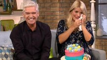 Phillip Schofield bid farewell to a tearful Holly Willoughby who is going on maternity leave from This Morning