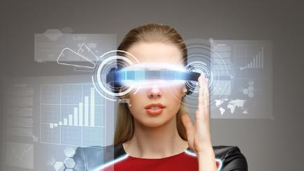 Woman with graphic of VR goggles