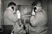 Telephone engineers in Westminster Abbey preparing for the Coronation. 1953.