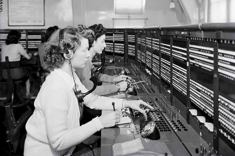Telephone operators at Potters Bar Telephone Exchange. 1947.