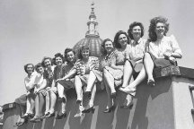 Telephonists on the roof of Faraday Building, London,  during a heat wave. 1947.