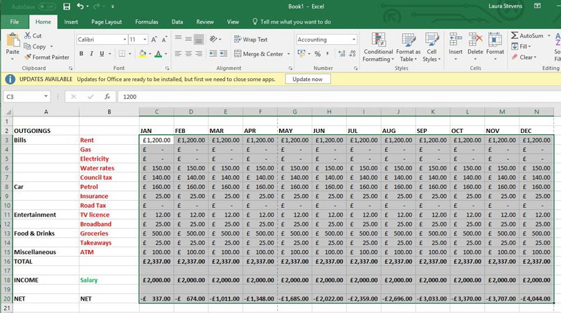 how to create a budget using microsoft excel bt