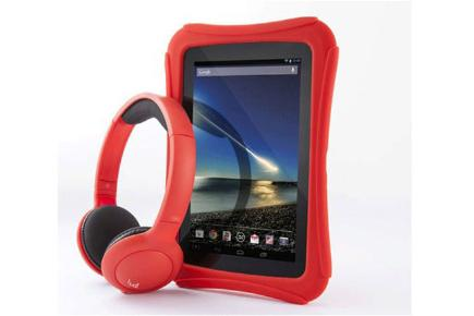Tesco Hudl Protective Bumper red with headphones