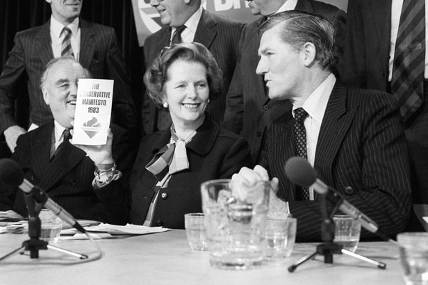 Prime Minister Margaret Thatcher with Cecil Parkinson in the run-up to the 1983 General Election.